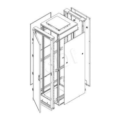 """Triton Szafa rack 19"""" stojąca demontowalna RZA-18-A86-CAX-A1 (18U, 800x600mm, przeszklone drzwi, kolor jasnoszary RAL7035)"""