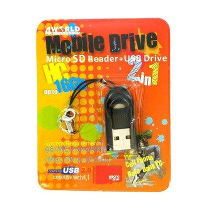 MIKRO CZYTNIK KART-PENDRIVE MICROSD/T-FLASH USB 2.0