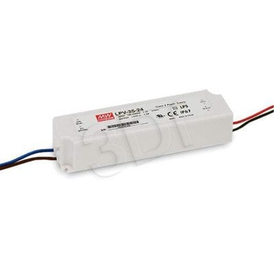 Zasilacz stałonapięciowy do LED MEAN WELL AC/DC LED, Class II, Seria LPV-35 (12V 36W) biały