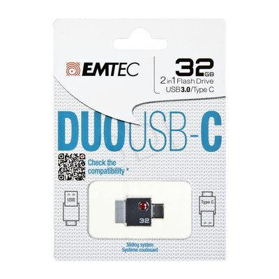 Emtec Flashdrive DUO USB-C 32GB USB 3.0 szary
