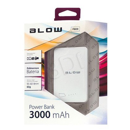 BLOW POWER BANK 3000mAh 1xUSB PB03 BIAŁY