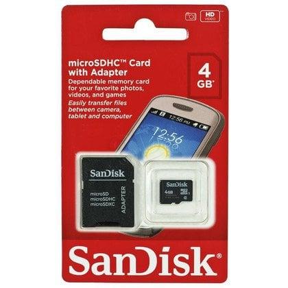 Sandisk micro SDHC SDSDQM-004G-B35A 4GB Class 4 + ADAPTER microSD-SD