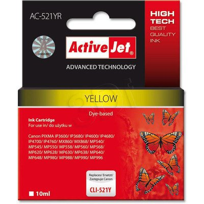 ActiveJet AC-521YR (ACR-521Y) tusz yellow do drukarki Canon (zamiennik Canon CLI-521Y) (chip)