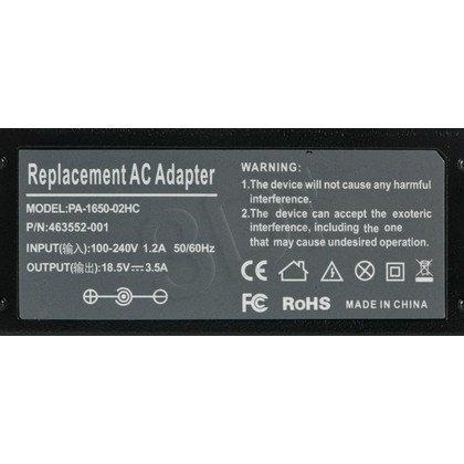 Zasilacz dedykowany do laptopa HP Compaq 18.5V 3.5A z kablem zasilającym Quer