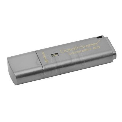 Kingston Flashdrive DataTraveler Locker+ G3 64GB USB 3.0 Srebrny