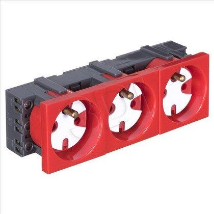 ALANTEC Gniazdo elektryczne 45x135 z kluczem,czer- 3x2P+Z