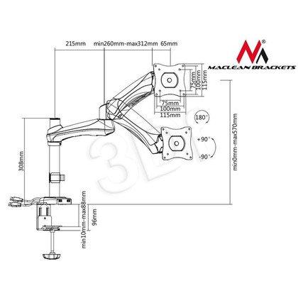 """MACLEAN UCHWYT DO MONITORA CZARNY MC-669B ZE SPRĘŻYNĄ PODWÓJNE RAMIĘ 13""""-27"""" 9 KG + USB 3.0"""