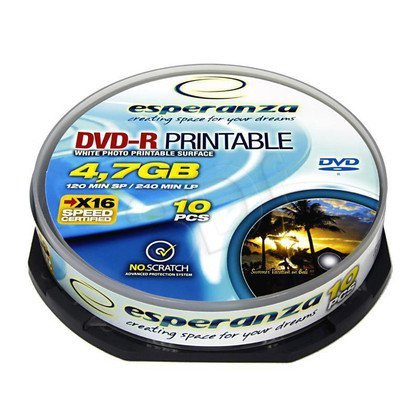 DVD-R ESPERANZA 4.7GB 16X DO NADRUKU CAKE 10SZT