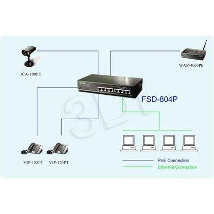 """PLANET / Niezarządzalny / (FSD-804P) - 8 x 10/100Mbps - 1.6Gbps, 2K, 4Mbit, PoE 10"""""""