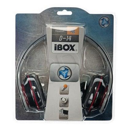 Słuchawki nauszne Ibox D14 (Czarno-czerwony)