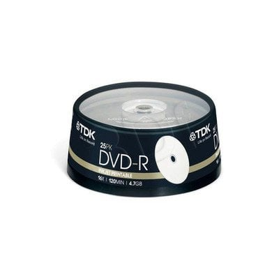 TDK DVD-R 4.7GB 16X PRINTABLE PHOTO INK CAKE 25SZT