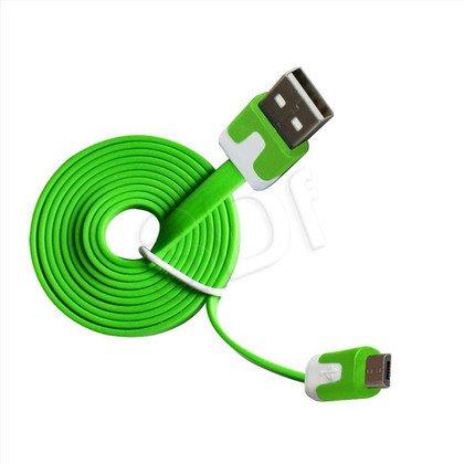 MSONIC KABEL MICRO USB 2.0 A-B M/M 1M, PŁASKI DESIGN, MLU527NE ZIELONY