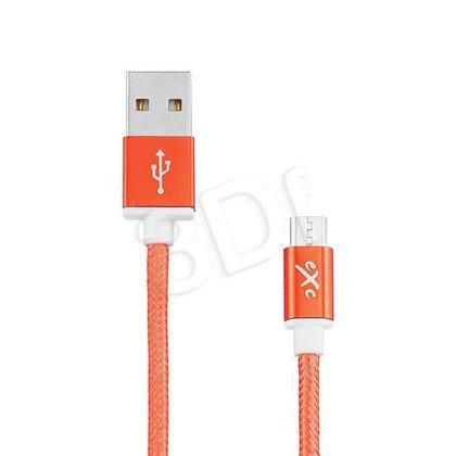 EXC UNIWERSALNY KABEL USB-MICRO USB, GLOSSY, 1.5 METRA, POMARAŃCZOWY