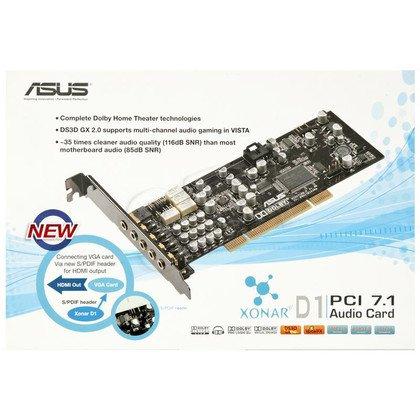 Karta dźwiękowa ASUS XONAR D1 (karta PCI, System 7.1, wyjście SPDIF do VGA z HDMI)