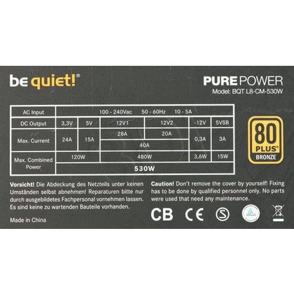 BE QUIET! PURE POWER L8 530W CM (BN181) 80+ BRONZE