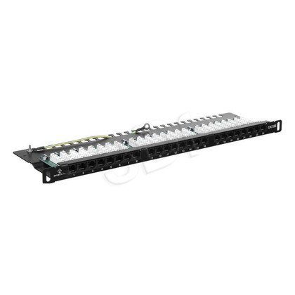 ALANTEC Patch panel UTP kat.5e, Optimum 0.5U - 24 porty LSA z półką, czarny