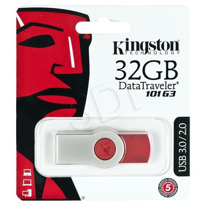 Kingston Flashdrive DataTraveler 101 G3 32GB USB 3.0 Czerwony