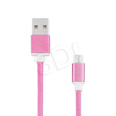 EXC UNIWERSALNY KABEL USB-MICRO USB, GLOSSY, 1.5 METRA, RÓŻOWY