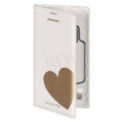 """Samsung Etui do telefonu Flip Wallet Moschino 5,1"""" Galaxy S5 białe+złote serce"""
