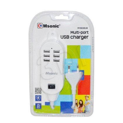 MSONIC ŁADOWARKA SIECIOWA MULTI-PORT, 6X USB, 2,5A, AC 100~240V MY6636UW BIAŁA