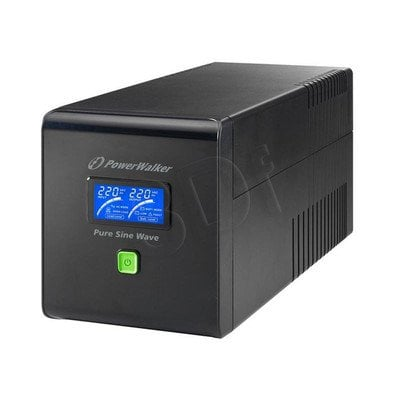 POWER WALKER UPS LINE-INTERACTIVE 1000VA 4X IEC 230V, PURE SINE WAVE, RJ11/45 IN/OUT, USB, LCD