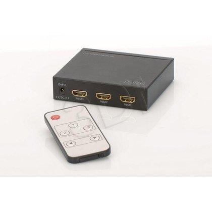 DIGITUS PRZEŁĄCZNIK/SWITCH HDMI 4K UHD 3D, HDCP, 3-PORTOWY, Z PILOTEM DS-48304