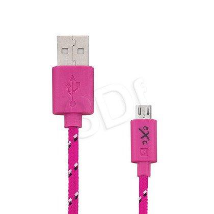 EXC UNIWERSALNY KABEL USB-MICRO USB, WEAVE, 2 METRY, RÓŻOWY
