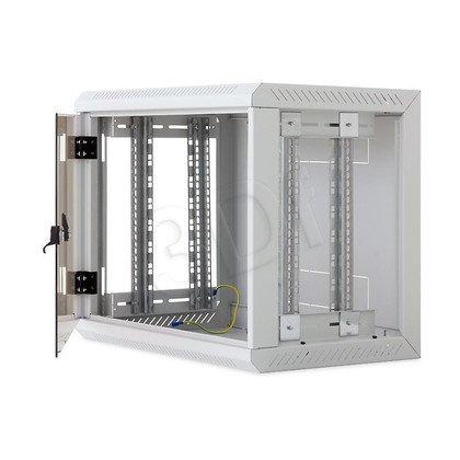 """Triton 19"""" Szafa wisząca jednosekcyjna RUA-09-AS6-CAX-A1 (9U, 600mm głębokość, przeszklone drzwi, kolor jasnoszary RAL7035, demontowalne panele"""