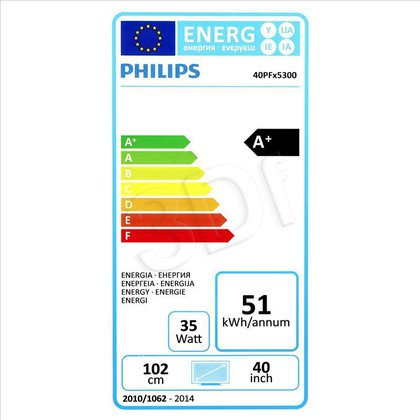 "TV 40"" LCD LED Philips 40PFH5300/88 (Tuner Cyfrowy 200Hz Smart TV USB LAN,WiFi)"