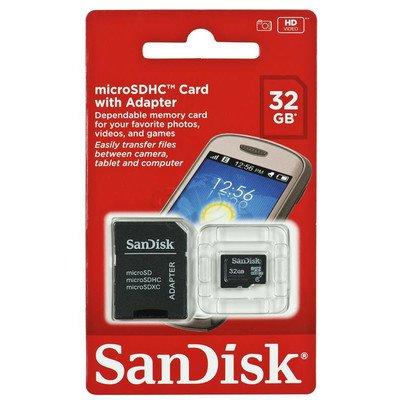 Sandisk micro SDHC SDSDQM-032G-B35A 32GB Class 4 + ADAPTER microSD-SD