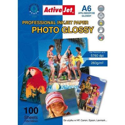 AP6-260GR100 Activejet Papier foto błyszczący żywicą powlekany A6 100szt 260g