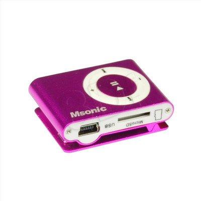 MSONIC ODTWARZACZ MP3 Z CZYTNIKIEM KART, SŁUCHAWKI, KABEL MINIUSB, ALUMINIUM MM3610P RÓŻOWY