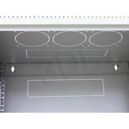 """Triton 19"""" Szafa wisząca jednosekcyjna RUA-09-AS4-CAX-A1 (9U, 400mm głębokość, przeszklone drzwi, kolor jasnoszary RAL7035, demontowalne panele"""