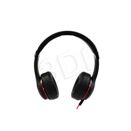 Słuchawki nauszne z mikrofonem Media tech TUROUS (Czarno-czerwone)