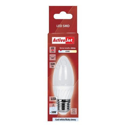 ActiveJet AJE-DS3027C-C Lampa LED SMD candle 320lm 4W E27 biarwa biała zimna