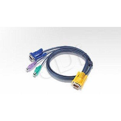 Aten kabel KVM 2L-5206P 6m Kabel HD15 - SVGA + myszPS2 + klaw.PS2 czarny