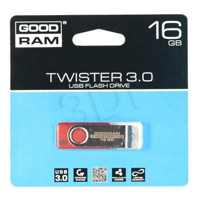 Goodram Flashdrive TWISTER 16GB USB 3.0 Czerwony