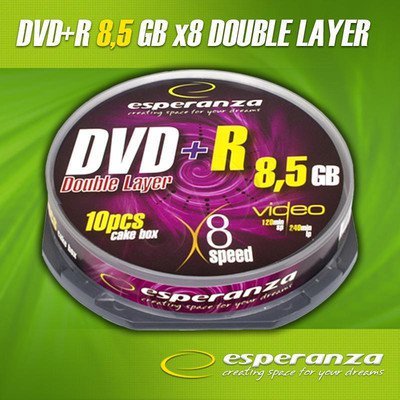 DVD+R ESPERANZA 8.5GB X8 DOUBLE LAYER CAKE 10