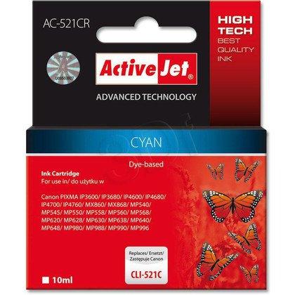 ActiveJet AC-521CR (ACR-521C) tusz cyan do drukarki Canon (zamiennik Canon CLI-521C) (chip)