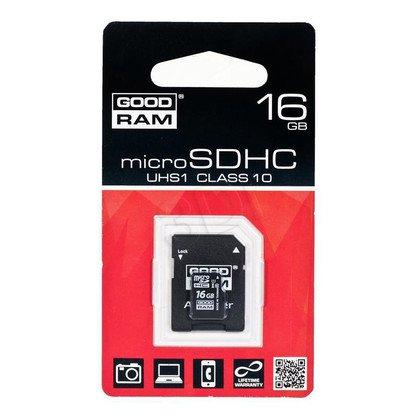 Goodram micro SDHC SDU16GHCUHS1AGRR10 16GB Class 10,UHS Class U1 + ADAPTER microSD-SD