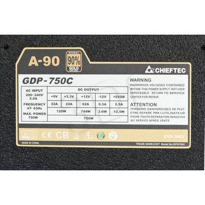 ZASILACZ CHIEFTEC GDP-750C (750W) MODULARNY 80+ GOLD