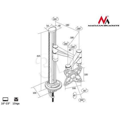 "MACLEAN UCHWYT DO MONITORA BIURKOWY LCD MC-548 13""-23"" 15KG VESA 75 I 100 ALUMINIUM"