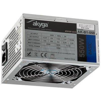 AKYGA ZASILACZ BASIC ATX 550W P4 FAN12CM 3XSATA 2xMOLEX PCI-E 6+2