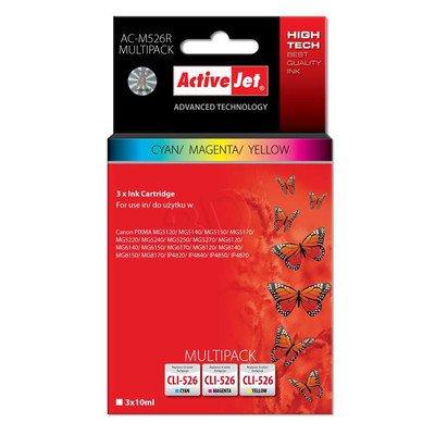 ActiveJet AC-M526R multipack tusz cyan, magenta, żółty do drukarki Canon (zamiennik Canon CLI-526) Premium/ chip