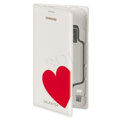"""Samsung Etui do telefonu Flip Wallet Moschino 5,1"""" Galaxy S5 białe+ czerwone serce"""