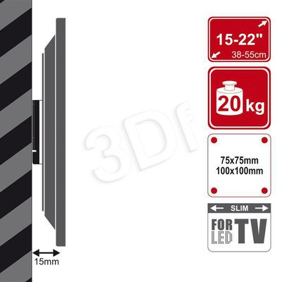 "UCHWYT ŚCIENNY LCD 15""-22""VESA 75/100 MAX 20KG BLK"