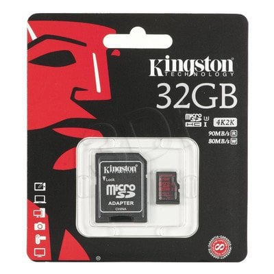Kingston micro SDHC SDCA3/32GB 32GB Class 10,UHS Class U3 + ADAPTER microSD-SD