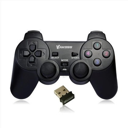 VAKOSS GAMEPAD BEZPRZEWODOWY USB Z FUNKCJĄ DUAL SHOCK, PC/PS3, TRYB CYFROWY I ANALOGOWY, GP-3925BK CZARNY