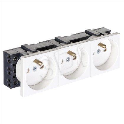 ALANTEC Gniazdo elektryczne 45x135, białe-3x2P+Z