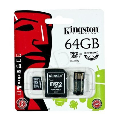 Kingston micro SDHC MBLY10G2/64GB 64GB Class 10,UHS Class U1 + ADAPTERY microSD-SD, microSD-USB